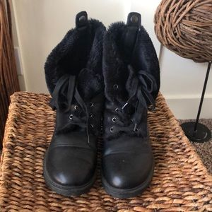 Olivia Miller faux fur lined combat style boots